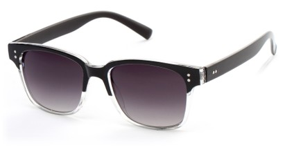 Angle of Sintra #9446 in Black/Clear Frame with Smoke Lenses, Women's and Men's Retro Square Sunglasses
