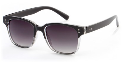 Angle of Sintra #9446 in Black/Grey Frame with Smoke Lenses, Women's and Men's Retro Square Sunglasses