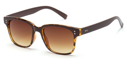 Angle of Sintra #9446 in Brown/Tortoise Frame with Amber Lenses, Women's and Men's Retro Square Sunglasses
