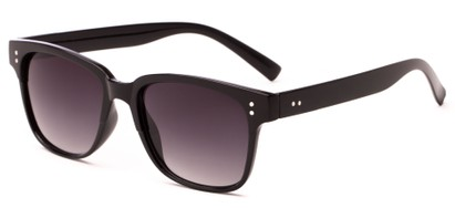 Angle of Sintra #9446 in Solid Black Frame with Smoke Lenses, Women's and Men's Retro Square Sunglasses