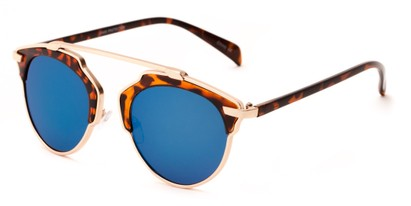 Angle of Tonto #9502 in Tortoise/Gold Frame with Blue Lenses, Women's and Men's Round Sunglasses