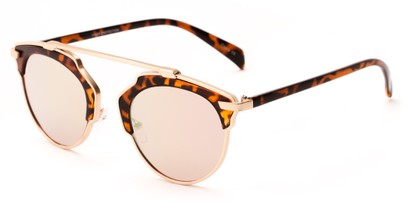 Angle of Tonto #9502 in Tortoise/Gold Frame with Pink Lenses, Women's and Men's Round Sunglasses