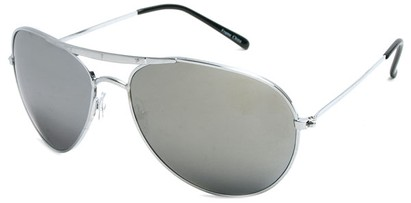 Angle of SW Mirrored Aviator Style #8838 in Silver Frame, Women's and Men's