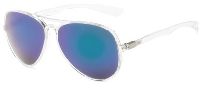 Angle of Surfside #9577 in Glossy Clear Frame with Blue Mirrored Lenses, Women's and Men's Aviator Sunglasses