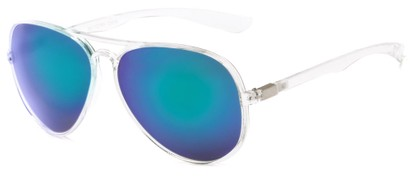 Angle of Surfside #9577 in Glossy Clear Frame with Blue/Green Mirrored Lenses, Women's and Men's Aviator Sunglasses