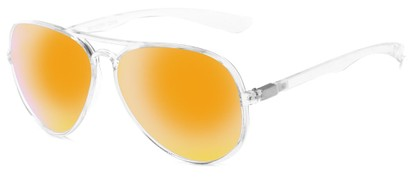 Angle of Surfside #9577 in Glossy Clear Frame with Yellow Mirrored Lenses, Women's and Men's Aviator Sunglasses