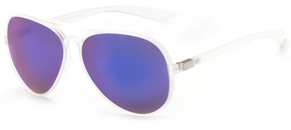 Angle of Surfside #9577 in Frosted Clear Frame with Blue Mirrored Lenses, Women's and Men's Aviator Sunglasses