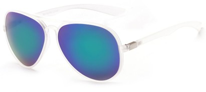 Angle of Surfside #9577 in Frosted Clear Frame with Blue/Green Mirrored Lenses, Women's and Men's Aviator Sunglasses