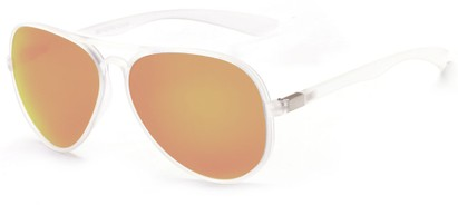 Angle of Surfside #9577 in Frosted Clear Frame with Yellow Mirrored Lenses, Women's and Men's Aviator Sunglasses