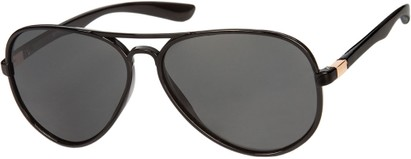 Angle of Drover #2599 in Glossy Black/Gold Frame with Smoke Lenses, Women's and Men's Aviator Sunglasses