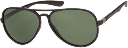 Angle of Drover #2599 in Matte Black/Grey Frame with Green Lenses, Women's and Men's Aviator Sunglasses