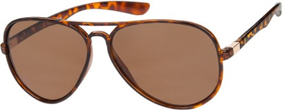 Angle of Drover #2599 in Glossy Tortoise/Gold Frame with Amber Lenses, Women's and Men's Aviator Sunglasses