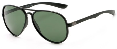 Angle of Margate #9517 in Matte Black/Grey Frame with Green Lenses, Women's and Men's Aviator Sunglasses