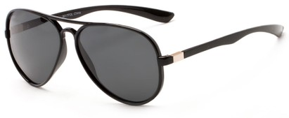 Angle of Margate #9517 in Matte Black/Gold Frame with Grey Lenses, Women's and Men's Aviator Sunglasses