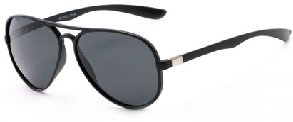 Angle of Margate #9517 in Matte Black/Silver Frame with Grey Lenses, Women's and Men's Aviator Sunglasses