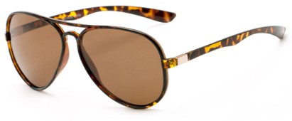 Angle of Margate #9517 in Glossy Tortoise/Gold Frame with Amber Lenses, Women's and Men's Aviator Sunglasses