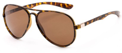 Angle of Margate #9517 in Matte Tortoise/Gold Frame with Amber Lenses, Women's and Men's Aviator Sunglasses