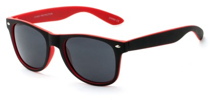 Angle of Reserve #9520 in Black/Red Frame with Grey Lenses, Women's and Men's Retro Square Sunglasses
