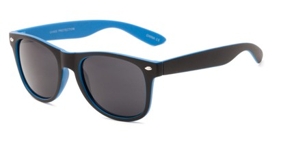 Angle of Reserve #9520 in Black/Blue Frame with Grey Lenses, Women's and Men's Retro Square Sunglasses