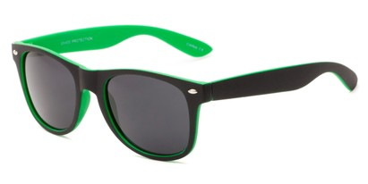 Angle of Reserve #9520 in Black/Green Frame with Grey Lenses, Women's and Men's Retro Square Sunglasses