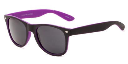 Angle of Reserve #9520 in Black/Purple Frame with Grey Lenses, Women's and Men's Retro Square Sunglasses