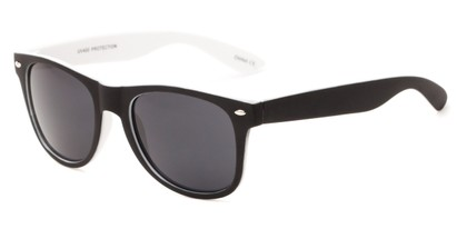 Angle of Reserve #9520 in Black/White Frame with Grey Lenses, Women's and Men's Retro Square Sunglasses