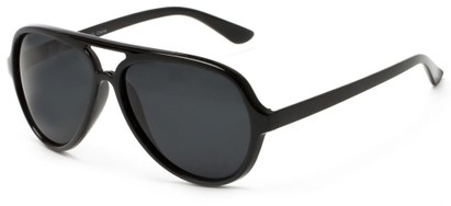 Angle of Sheldon #9524 in Black Frame with Smoke Lenses, Men's Aviator Sunglasses
