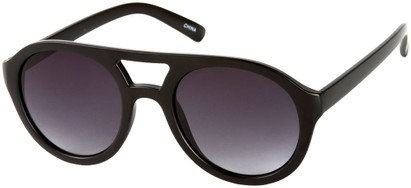 Angle of SW Celebrity Aviator Style #160 in Glossy Black Frame with Grey Lenses, Women's and Men's