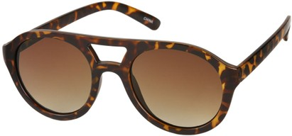Angle of SW Celebrity Aviator Style #160 in Matte Brown Tortoise Frame with Amber Lenses, Women's and Men's