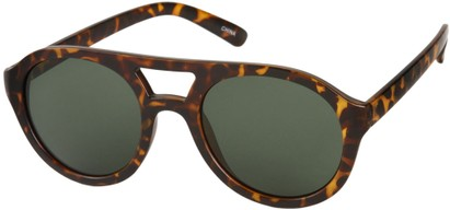 Angle of SW Celebrity Aviator Style #160 in Matte Brown Tortoise Frame with Green Lenses, Women's and Men's