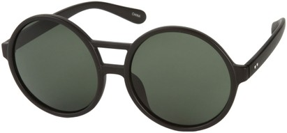 Angle of SW Round Celebrity Style #179 in Matte Black Frame with Green Lenses, Women's and Men's