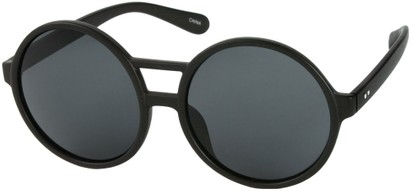 Angle of SW Round Celebrity Style #179 in Glossy Black Frame with Grey Lenses, Women's and Men's