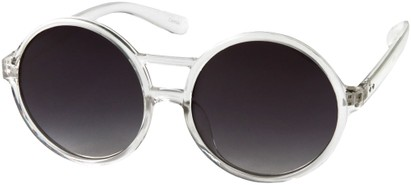 Angle of SW Round Celebrity Style #179 in Clear/White Frame with Grey Lenses, Women's and Men's