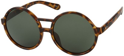 Angle of SW Round Celebrity Style #179 in Brown Tortoise Frame with Green Lenses, Women's and Men's