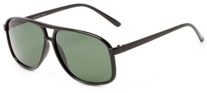 Angle of Fraser #9562 in Glossy Black Frame with Green Lenses, Men's Aviator Sunglasses