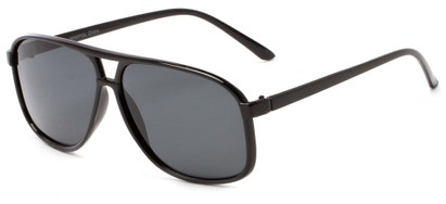 Angle of Fraser #9562 in Glossy Black Frame with Smoke Lenses, Men's Aviator Sunglasses