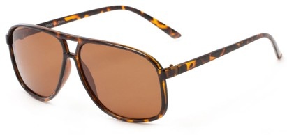 Angle of Fraser #9562 in Glossy Tortoise Frame with Amber Lenses, Men's Aviator Sunglasses