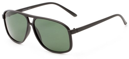Angle of Fraser #9562 in Matte Black Frame with Green Lenses, Men's Aviator Sunglasses