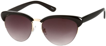 Angle of SW Retro Style #3077 in Black/Gold Frame with Smoke Lenses, Women's and Men's