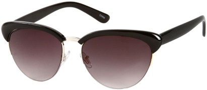 Angle of SW Retro Style #3077 in Black/Silver Frame with Smoke Lenses, Women's and Men's
