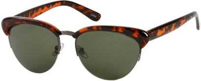 Angle of SW Retro Style #3077 in Brown Tortoise/Grey Frame with Green Lenses, Women's and Men's