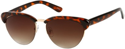 Angle of SW Retro Style #3077 in Brown Tortoise/Gold Frame with Amber Lenses, Women's and Men's