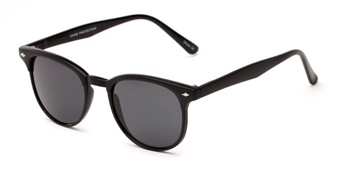 Angle of Nash in Black Frame with Grey Lenses, Women's and Men's Round Sunglasses