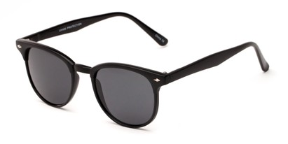 Angle of Nash #9586 in Black Frame with Grey Lenses, Women's and Men's Round Sunglasses