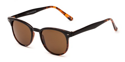 Angle of Nash #9586 in Black/Tortoise Frame with Amber Lenses, Women's and Men's Round Sunglasses