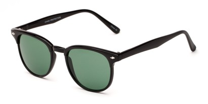 Angle of Nash #9586 in Black Frame with Green Lenses, Women's and Men's Round Sunglasses