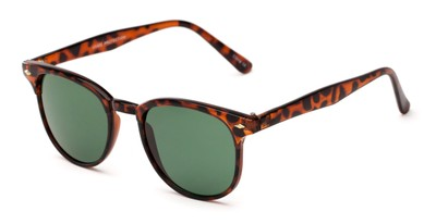 Angle of Nash #9586 in Tortoise Frame with Green Lenses, Women's and Men's Round Sunglasses