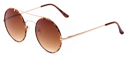 Angle of Tenor #9595 in Gold/Tortoise Frame with Amber Lenses, Women's and Men's Round Sunglasses