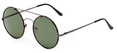 Angle of Tenor #9595 in Grey/Tortoise Frame with Green Lenses, Women's and Men's Round Sunglasses