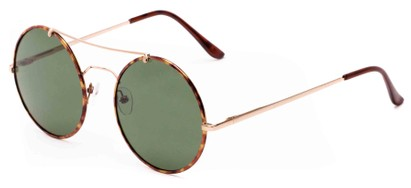 Angle of Tenor #9595 in Gold/Tortoise Frame with Green Lenses, Women's and Men's Round Sunglasses